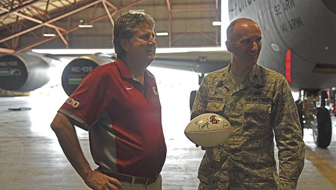 WSU head football coach visits Fairchild